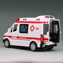 1/36 Scale 14.5CM Alloy Car Rescue the wounded 120 Ambulance Hospital Emergency Bus Pull Back Diecasts VehiclesModel ToyChildren