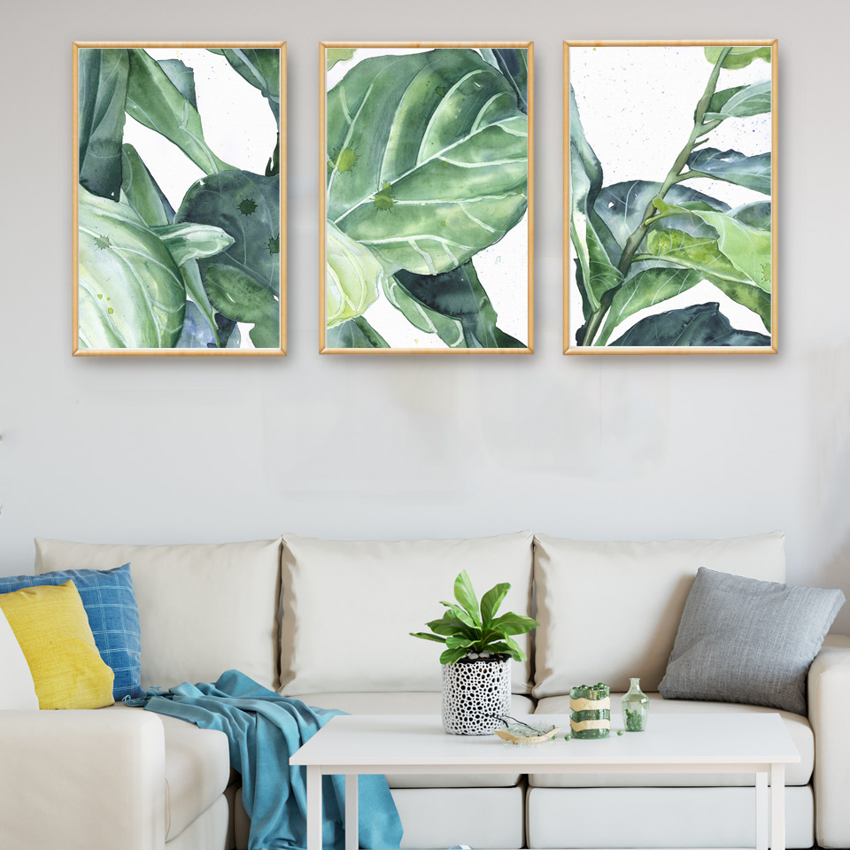 Tropical Plants Banana Leaves Ink Art Canvas Poster Modern Minimalist Living Room Family Decor Painting Background No Frame In Calligraphy From
