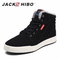 JACKSHIBO Big Size 39 45 Men Boots Fashion Flat Winter Snow Boots Fur Insole Ankle Boots