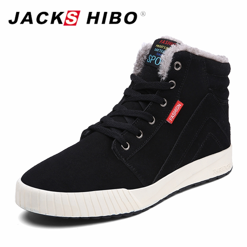 JACKSHIBO High Quality Snow Boots Winter Shoes Mens Footwear Add Fur Warm Ankle Boots Winter Sneakers For Men Botas Hombre