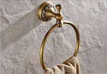 Antique Brass Carved Pattern Round Bathroom Towel Ring Rack Bath Towel Holder Shelf Wall Mounted