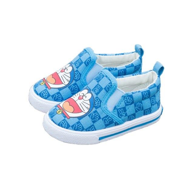 Прекрасный причинно детская обувь холст милый мультфильм Doraemon изображения prewalker обувь для 1-3yrs ребенок новорожденный infantil первые ботинки ходока