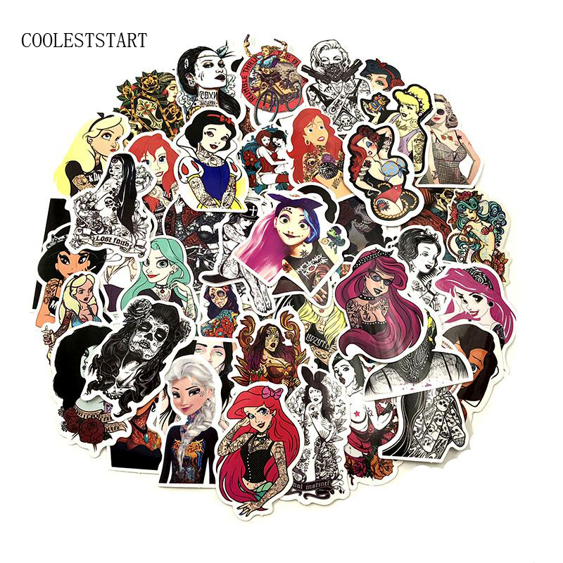 50PCS/Set Tattoo Girl Sticker Pvc Waterproof Fashionable Styling Sexy Beauty Girl  For Laptop Luggage Guitar Decal Toy Sticker