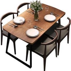 Mesas de jantar móveis de sala de jantar móveis para casa de madeira maciça + mesa de jantar de aço minimalista mesa de cozinha moderna 140/160*70*75cm