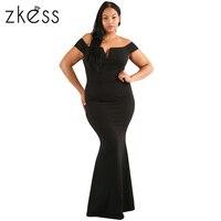Zkess 2017 Frauen Plus Größe Elegante bodyron lange dressses dame Slash Neck sexy bleistift Sheer Spalte Kleid vestidos LC61613