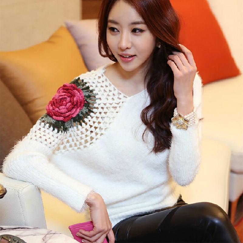 Besplatna dostava Novi modni 2018 proljeće jesen za ženske pulovere ogroman labav topli cvijet pleteni puloveri veste