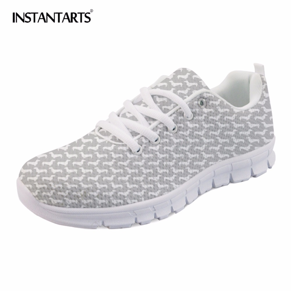 INSTANTARTS Women Flats Casual Shoes Breathable Lace-up Tenis Feminino Cute Achshunds Dogs Pattern Mesh Sneakers Shoes Big Size instantarts women casual flats shoes ladies skull flower printed light air mesh fashion sneakers girl lace up shoes plus size