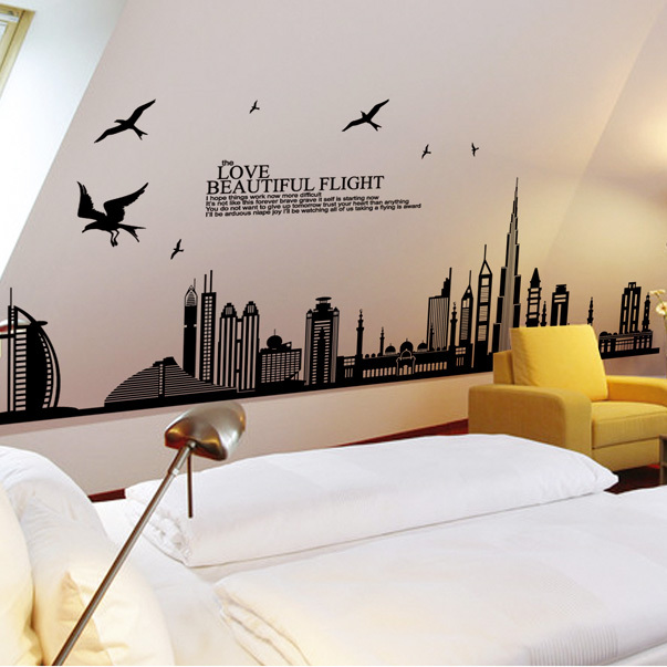 2017 removable vinyl wall sticker new arrival dubai city landscape wall decals home decor stickers 17085cm in wall stickers from home garden on