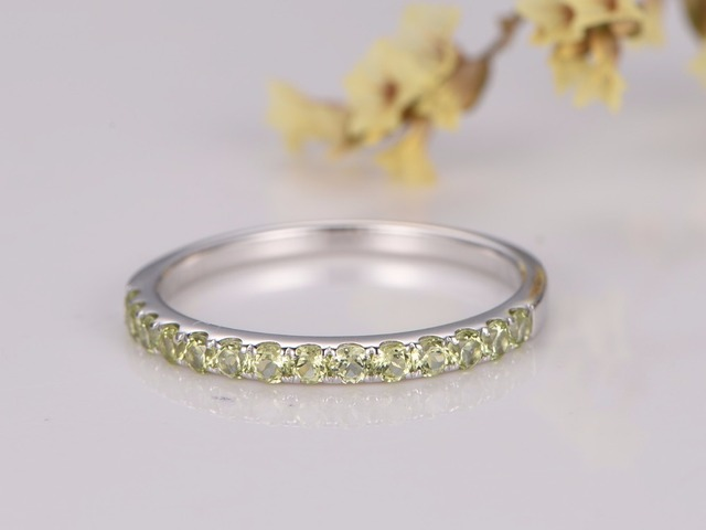 MYRAY Wedding Bands Engagement Ring Bezel Set Ring Peridot Wedding ...