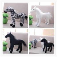 Игрушечная лошадка, плюшевая, для детей, мягкая, черная, белая игрушечная лошадка, подарок на день рождения, домашний декор