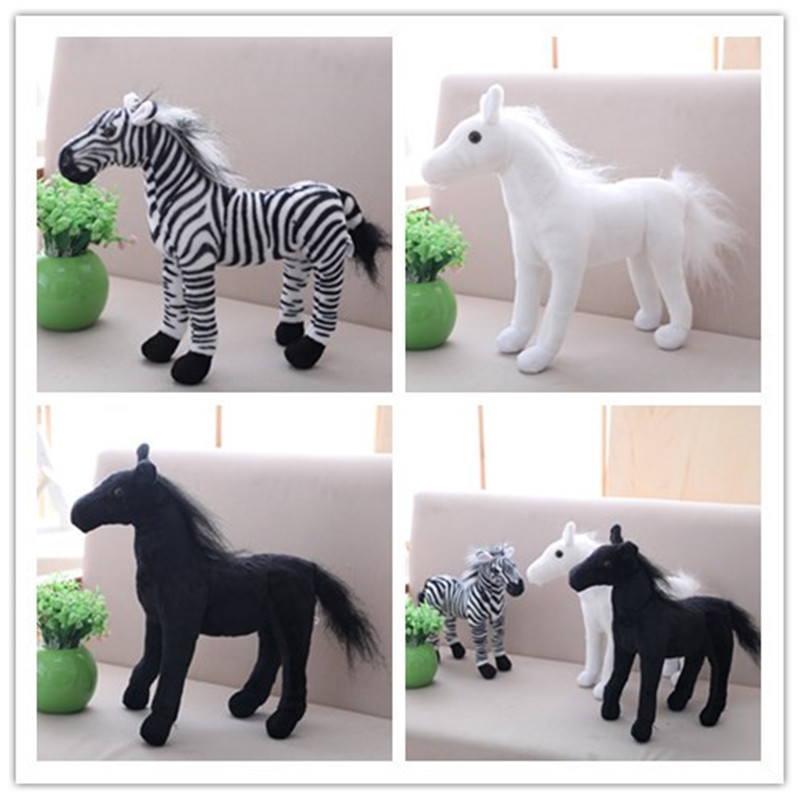 Simulation Horse Plush Baby Toys Cute Stuffed Animal Zebra Doll Soft Black White Horse Toy Kids FriendsBirthday Gift Home Decor