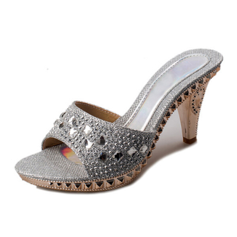 2019 Summer Mules Slides <font><b>Women</b></font> Elegant Thick <font><b>High</b></font> <font><b>Heels</b></font> Rhinestone Platform Slip on <font><b>Slippers</b></font> Ladies <font><b>Sexy</b></font> <font><b>Shoes</b></font> XWZ2120 image