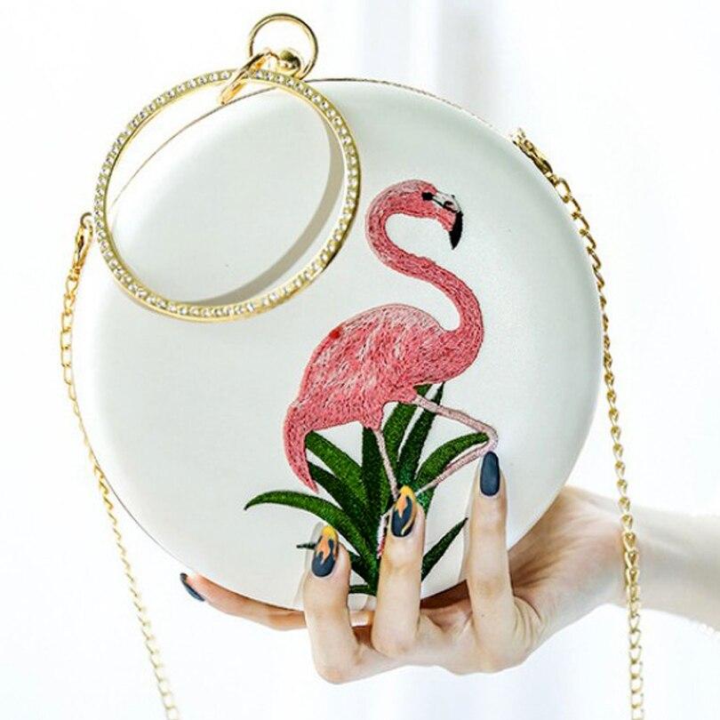 Flamingo dames sacs à main blanc sac rond femmes 2019 pochette chaîne sac diamant poignée cercle petits mini sacs à main sacs de soirée - 3