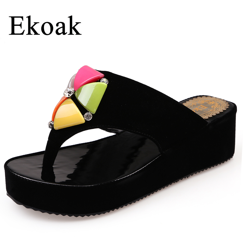 Ekoak Size 36-43 New 2017 Summer Flip Flops Fashion Wedges Platform Shoes Woman Sandals Ladies Sexy Crystal Beach Slippers women sandals 2017 summer shoes woman flips flops wedges fashion gladiator fringe platform female slides ladies casual shoes