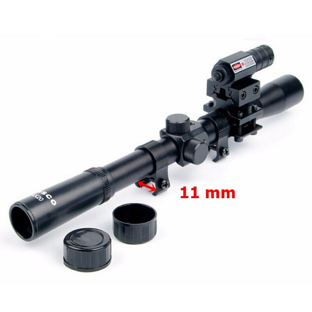 4×20 Rifle Optics Scope Tactical Crossbow Riflescope with Red Dot Laser Sight and 11mm Rail Mounts for 22 Caliber Guns Hunting A