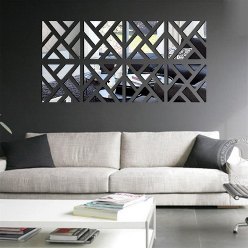 3d Design Bedroom Art Deco: 1PCS New 3d Acrylic Mirror Wall Stickers Square Living
