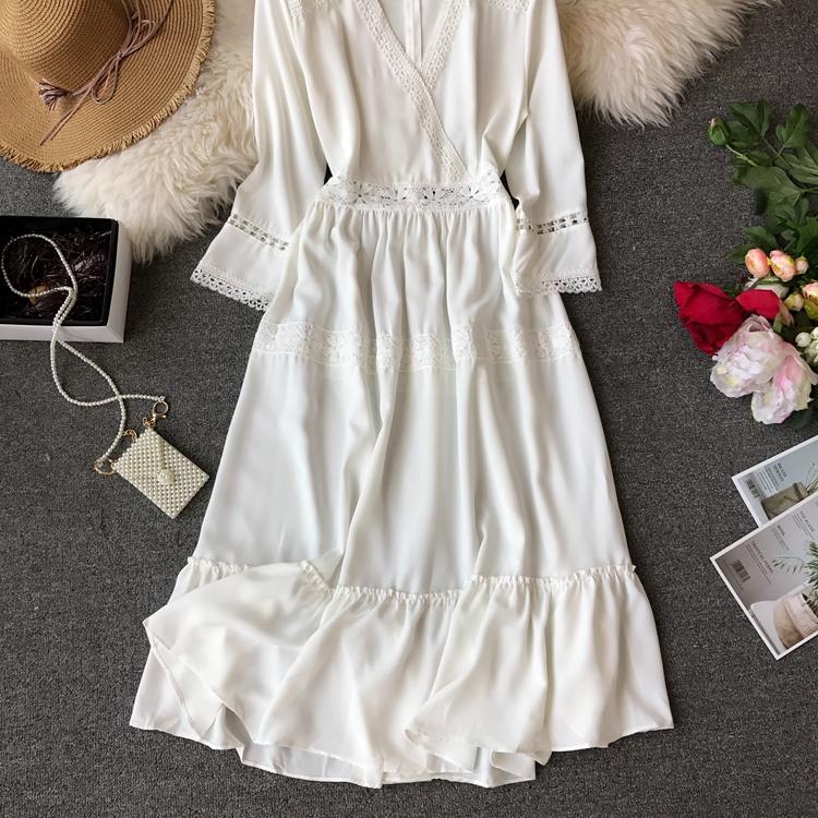 Women Bohemian Dress Lady Half Sleeve V Neck Red and White Beach Holiday Elegant Vestidos E152 29