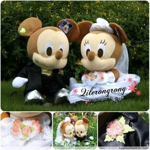 a pair plush Mickey and minnie Wedding couples toys plush mice dolls wedding gift about 25cm