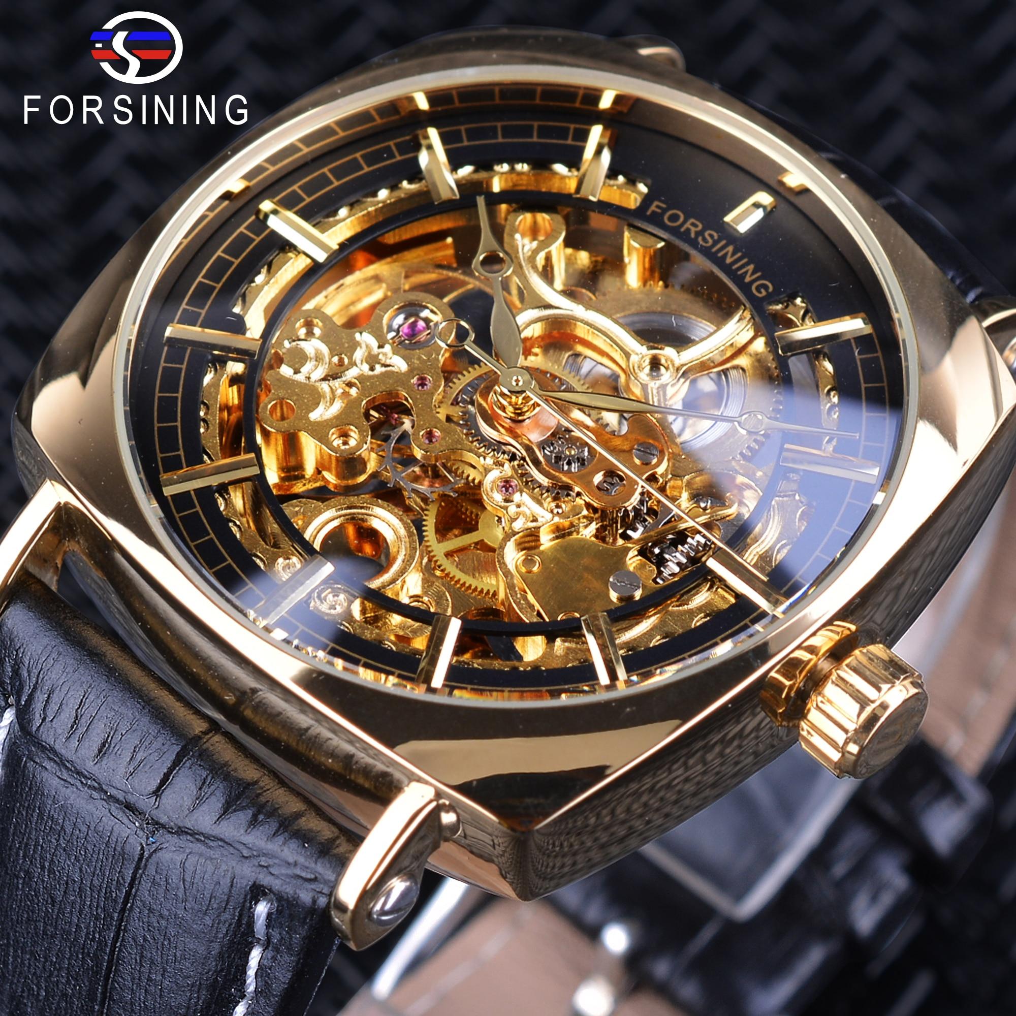 Forsining 2018 Creative Watch Waterproof Luxury Golden Skeleton Mechanical Watches Black Genuine Leather Mens Wristwatches Clock