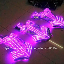 Hot Sale RGB LED Evening Dress Women Costume Clothing Colorful Led Luminous Carnival Sexy Clothes Suit Growing Stage Dance Wear