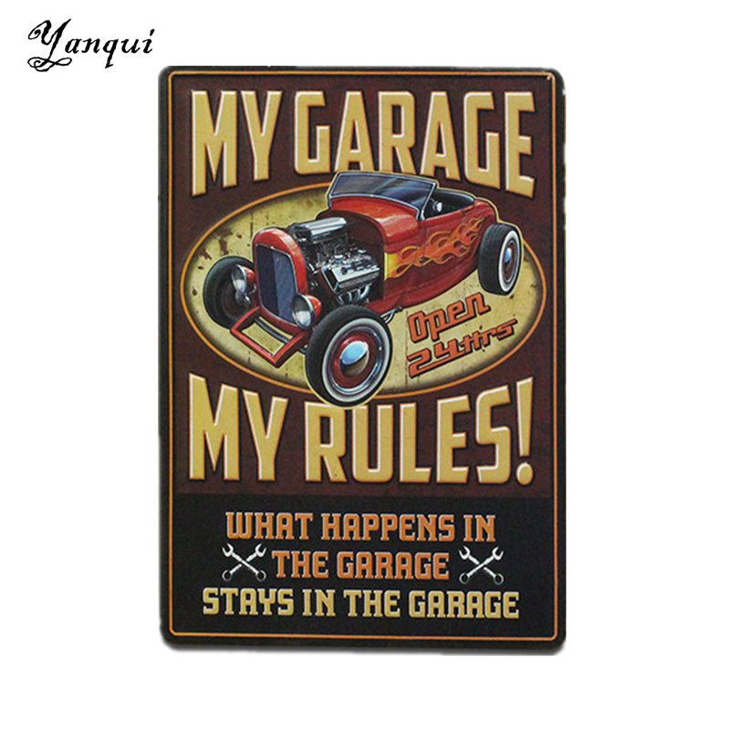 My Garage My Rules Open 24 Hours Metal Signs For Bar Pub