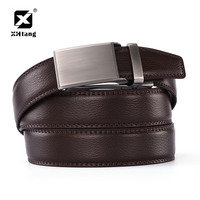 XHTANG Brand Mans Belt Brown Leather Ratchet Belt Men S Fashion Waistband Casual Duckbill Buckle Belts
