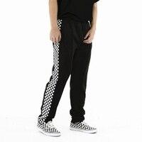 2018 Mens Side Plaid Pants Casual retro Pants School Trousers Male Elastic Waist Fashion Straight Joggers Sweatpants Wiz Khalifa