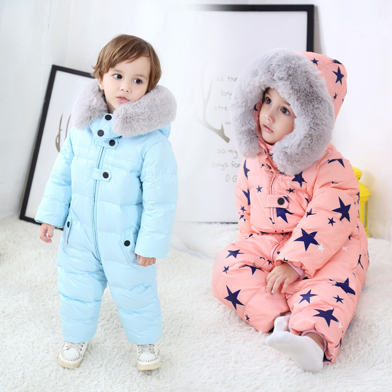 Russia Winter -30 Children Jumpsuit Snowsuit Baby White Duck Down Rompers Jackets Warm Overall Down Coats Boy Girls Kids Clothes the love of cat and mouse boy girl cartoon duck down jacket jumpsuit jackets baby snowsuit kids clothes 03