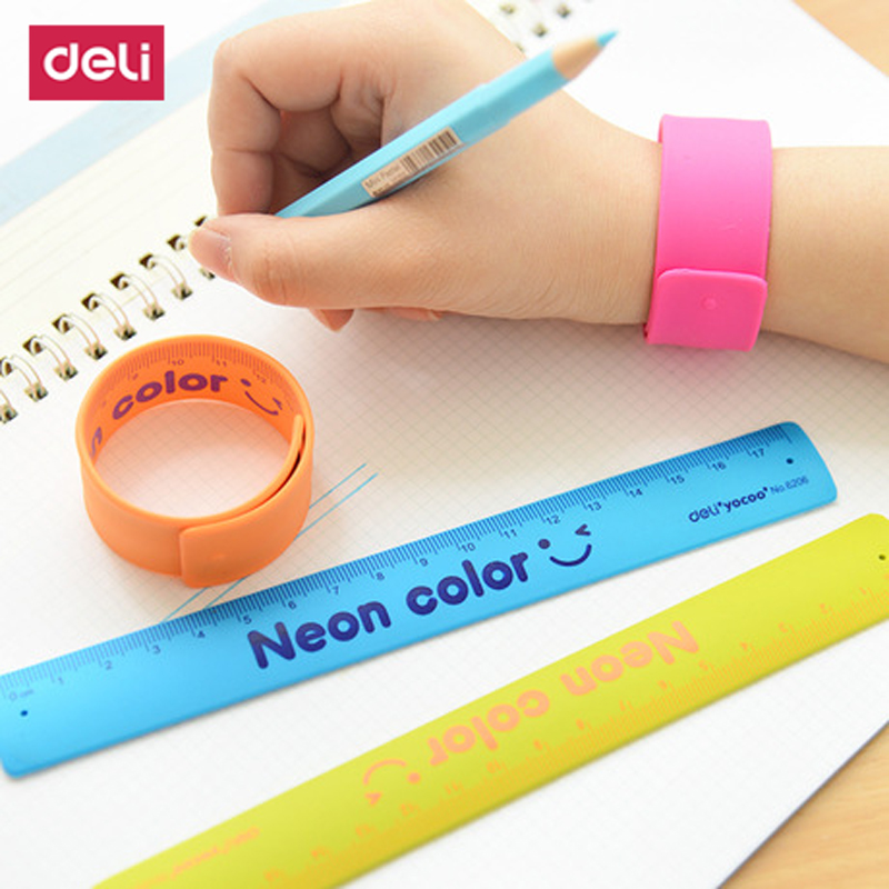 18 CM Candy- Colored Gauge Stationery Flexible Bracelet Ruler Spirograph Acrylic School Line Tool Measuring Chancery  Rulers