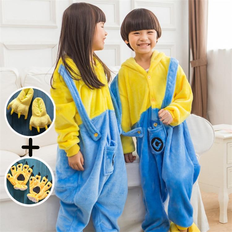 Hot Children Pokemon Minions Dinosaur Kids Warm Soft Cosplay Pajamas Sleepwear&Shoes&gloves Set Girls Boys Halloween Costumes