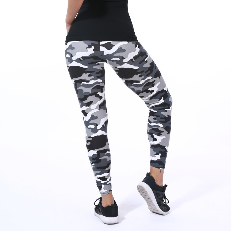 New Fashion 2018 Camouflage Udskrivning Elasticitet Leggings Grøn / Blå / Grå Camouflage Fitness Pant Legins Casual Legging For Women