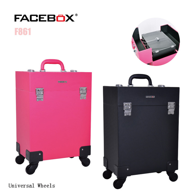 Facebox Trolley Makeup Box Beauty Case with wheels Professional makeup box Black and pink color Standard and Univeral Wheel