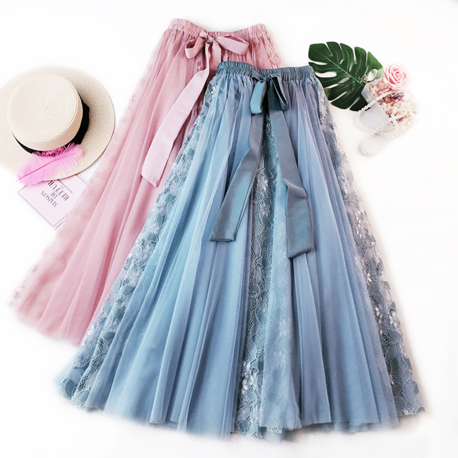 HIGH QUALITY Women Mesh Tulle Skirts 2019 Summer Korean Lace Patchwork Long Skirt Tie Bow Ball Gown Big Swing Skirt Large Size