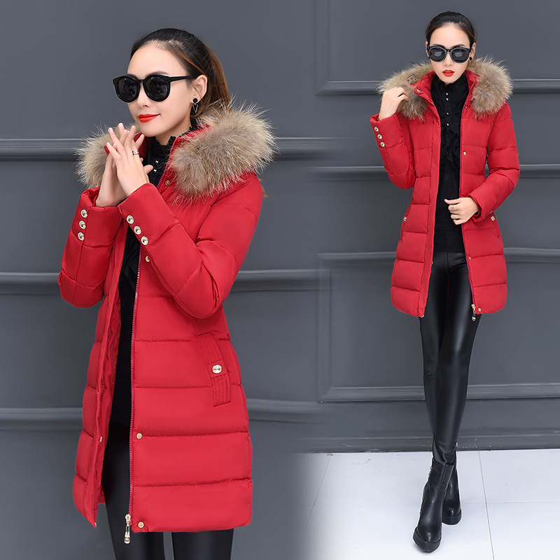 Wadded Cotton Quilted Female New Down Cotton Padded Big Fur Collar Coat Winter Thickening Warm Slim Hooded Mujer   Parkas   MZ3262