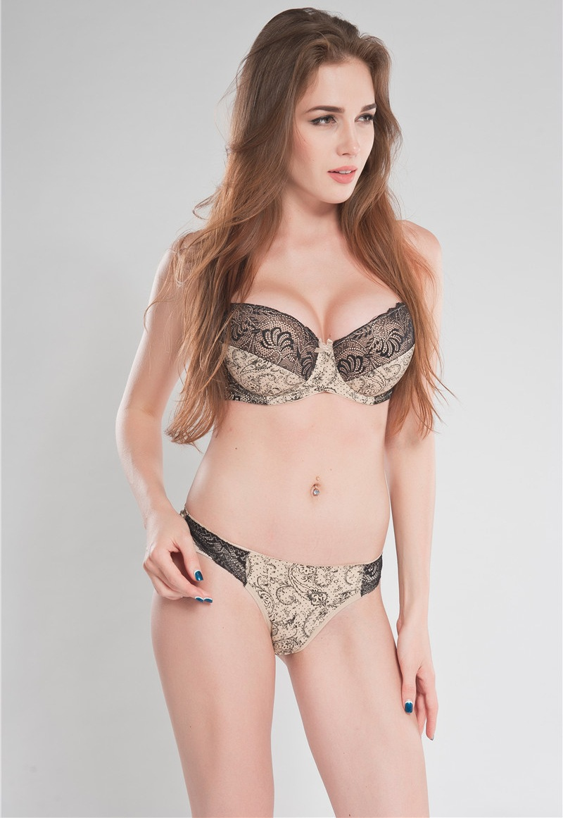 62a5e80e41c71 French Brand Plunge Sexy Embroidery Bra Panty Set Nude Leopard .