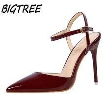 Bigtree женщины острым носом туфли на каблуках женщина мелкой slingback насосы дамы пряжки ремня партия свадебные туфли на шпильке туфли