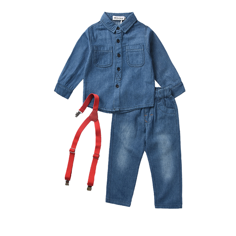 New Arrival Baby Boy Clothes 2018 Autumn Casual Brand Kids Jeans Clothing Suit For Toddler Baby Denim Shirt + Suspender Trousers autumn new arrival fashion top quality mens hip hop denim casual baggy loose skateboard jeans trousers size 30 46 free shipping