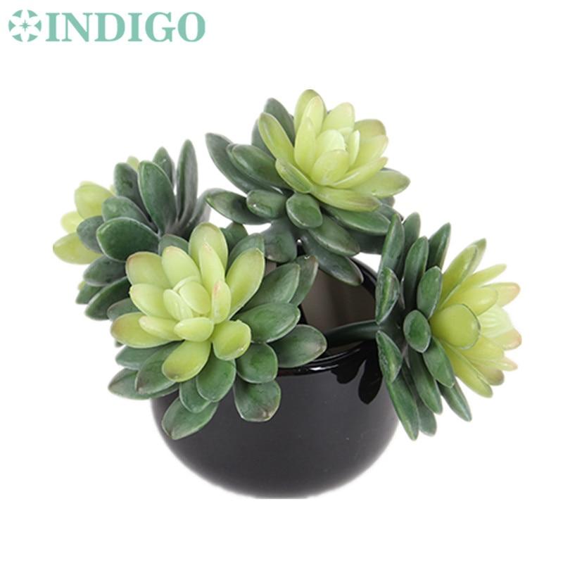 INDIGO- Wholesale 120pcs Pachyphytu Echeveria Elegance Artificial Succulent Plant Plastic Decorative Background Free Shipping