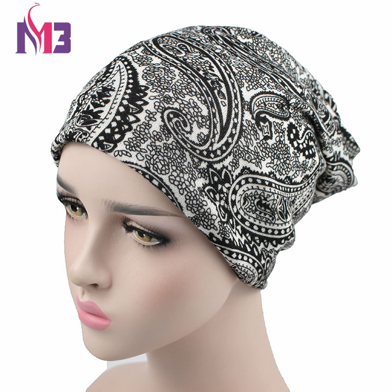 Winter Women Paisley Skullies Beanie Hat Knitted Neck Warmer Two Used Casual boo Womens Ski Gorros Cap