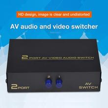 New AV Switch Box 2 In 1 Out AV Audio Video Signal Composite For HDTV LCD DVD 3 RCA Switcher 2 To 1 Selector Not Splitte