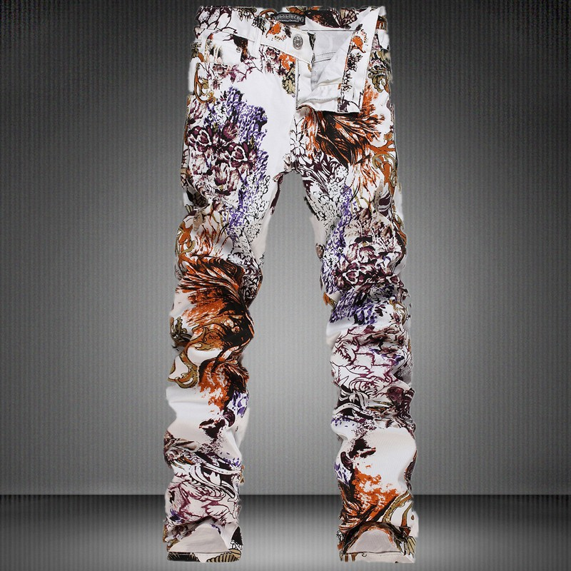 9c5c68917 Fashion white swag dance pants for men printed Seagull casual trousers  painted male slim skinny teenage boys clothing stage cool
