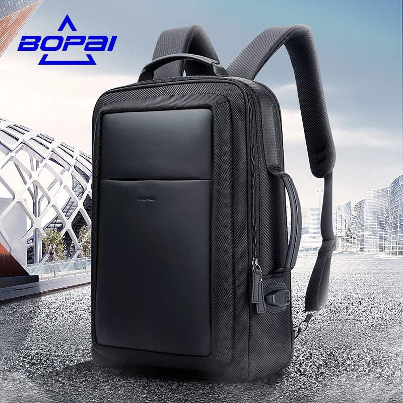 BOPAI Leather Nylon Mochilas Blue USB Charge Backpack Men 15.6 Inch Notebook School Bags Black Cool Travel Backpacks for Men universal nylon cell phone holster blue black size l