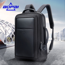 BOPAI Leather Nylon Mochilas Blue USB Charge Backpack Men 15.6 Inch Notebook School Bags Black Cool Travel Backpacks for Men