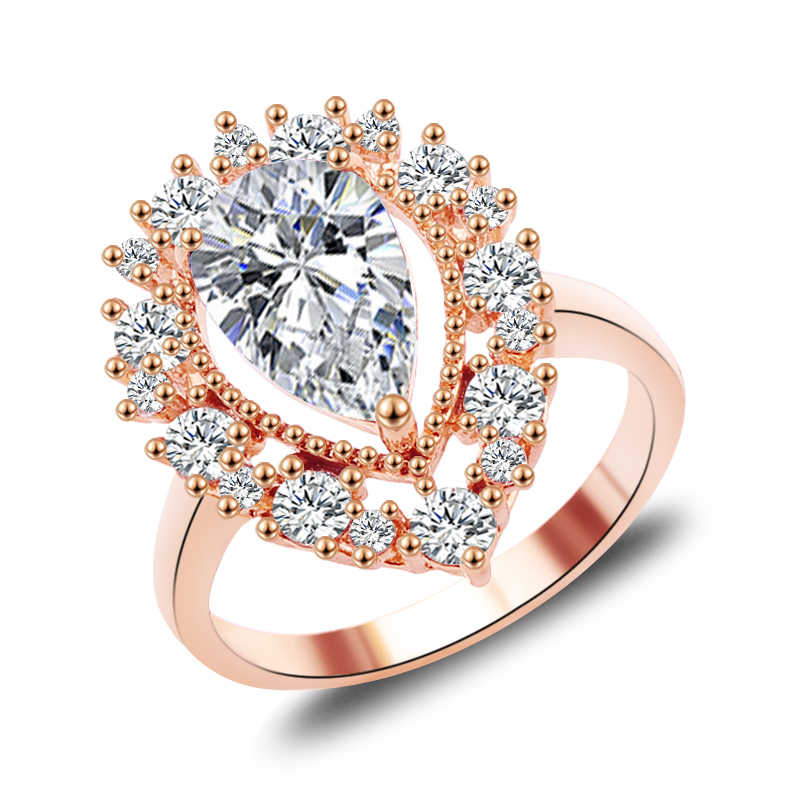 2019 ใหม่ Mystic Rainbow Fire โอปอลแหวน Lady Rose Gold Filled งานแต่งงานแหวนหมั้น Anel วาเลนไทน์วัน