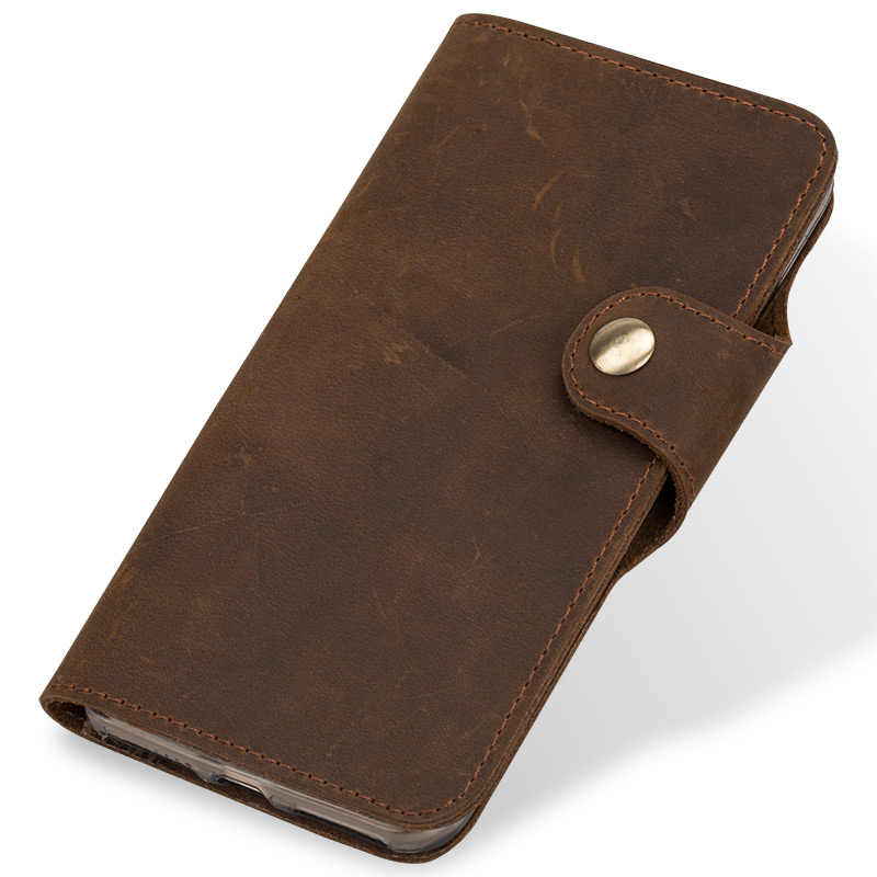 Genuine Leather flip Wallets Case For Samsung s10 case retro leather buckle soft silicone shell for Galaxy s10e a7 2018 a50 a70