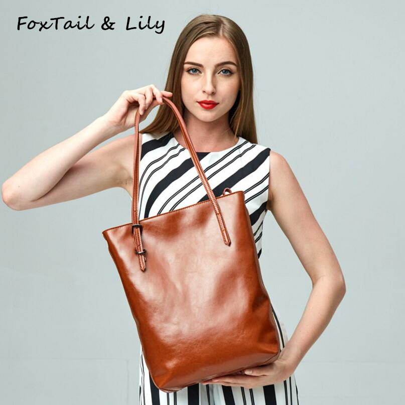 FoxTail & Lily Genuine Leather Women Handbag Ladies Shoulder Bags Fashion Designer Casual Tote Bag Large Capacity Shopping Bags women crocodile pattern handbag fashion casual tote large shoulder bags ladies brand genuine leather shopping bag gift hand bag