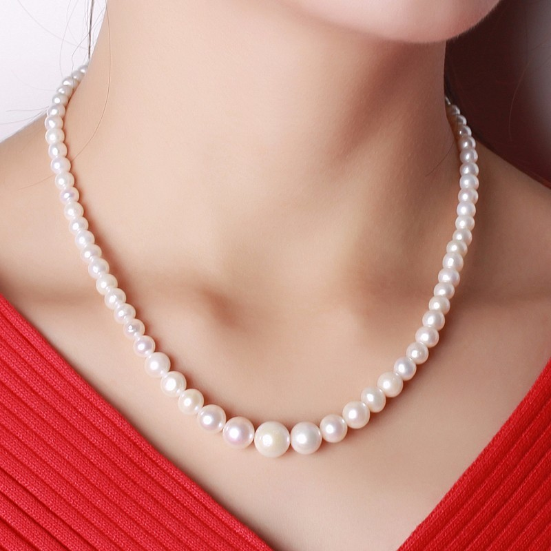 Dainashi high quality pearl necklace real fresh water pearl necklaces 925 sterling silver flower button valuable gifts for women