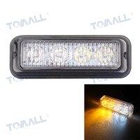 Tomall Wired 12W 4 EPISTAR LED Car Flashing Warning Signal Lamp Foglamp White Yellow Light 720lm