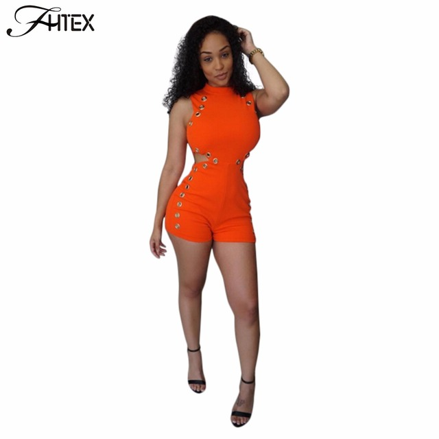 Summer Playsuits New Fashion Women Sexy Hollow Out High Waist Solid Color Casual Club Sheath Bodycon Jumpsuit Overalls Catsuit