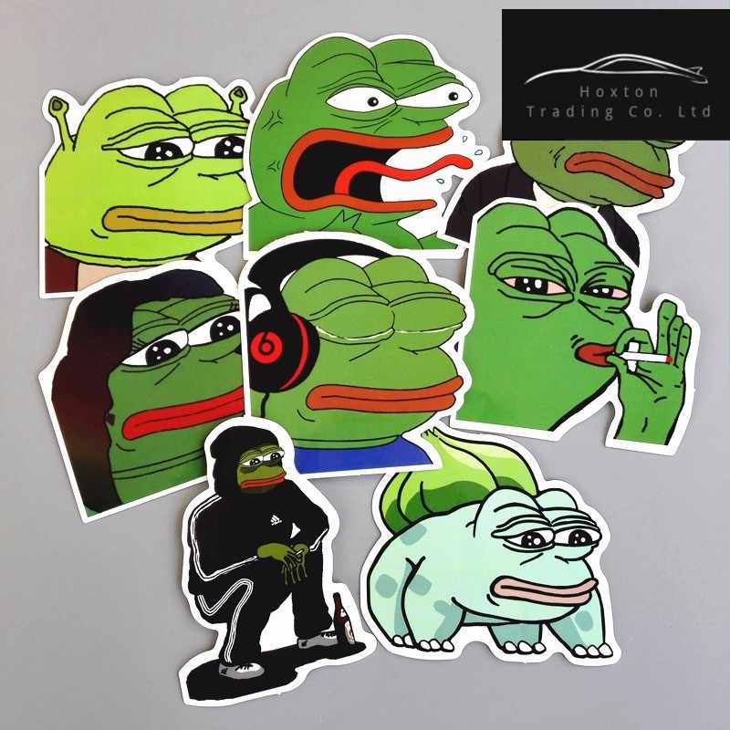 8Pcs/Lot Pepe Sad Frog Funny Sticker For Car Laptop Luggage Skateboard Motorcycle Snowboard Phone Decal Toy Stickers